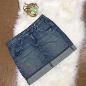 DKNY Cuffed Denim Skirt